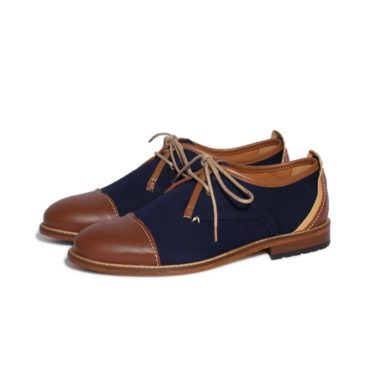 Derbies M.MOUSTACHE Léon canvas bleu et bout droit