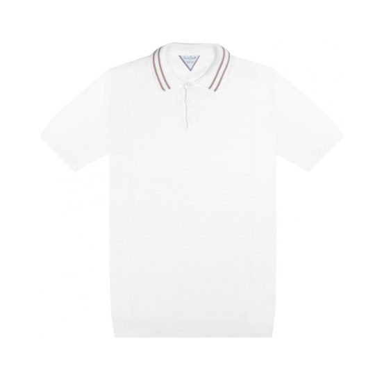 Polo SIX & SEPT blanc en coton Egyptien