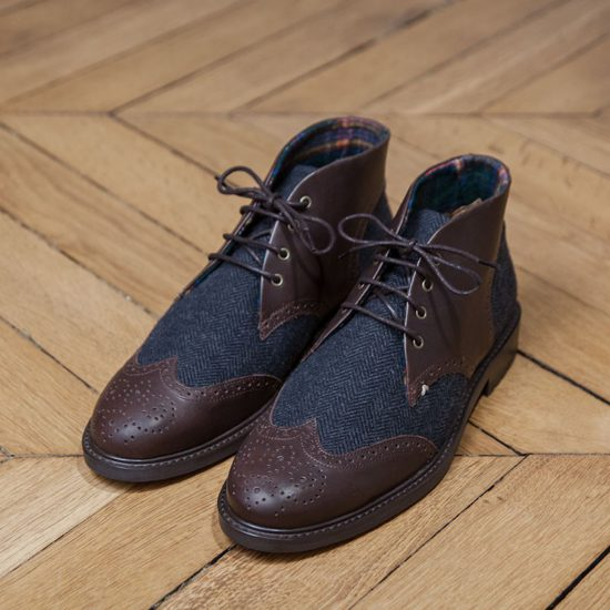 Desert Boots M. Moustache FELIX cuir marron et tweed