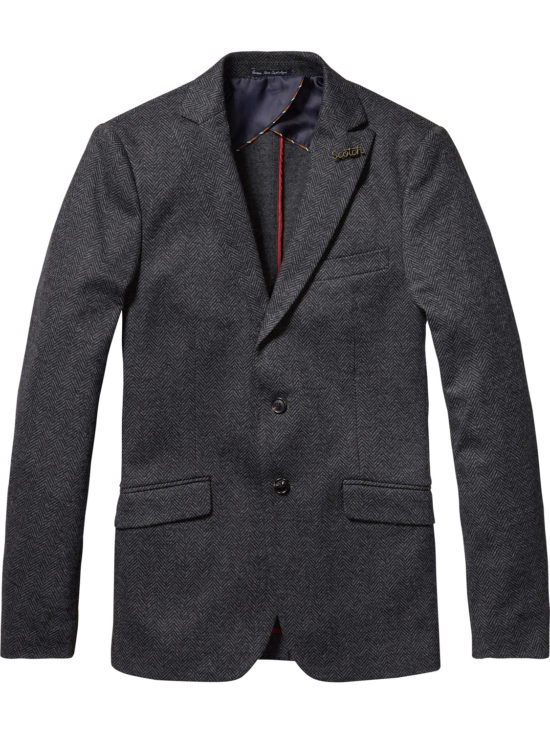 Blazer gris à chevrons Scotch & Soda