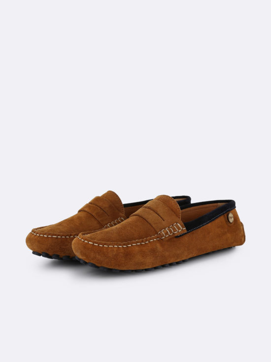 Mocassins suede Palm tobacco navy Faguo