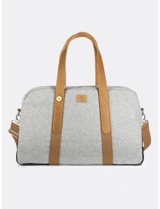 Sac de weekend gris clair & marine en laine Faguo