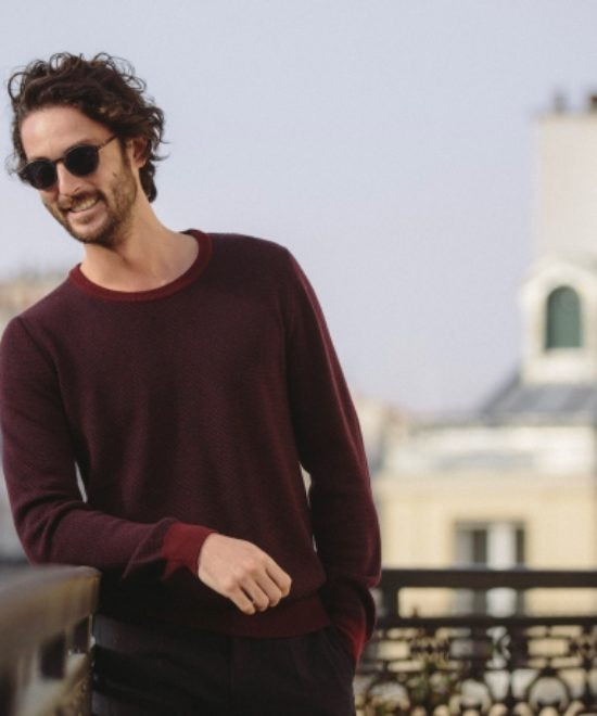 Pull col rond bordeaux