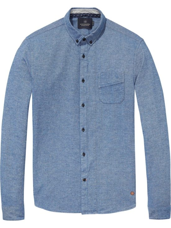 Chemise bleue en coton regular fit Scotch and Soda