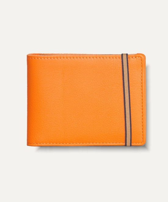 Portefeuille en cuir orange