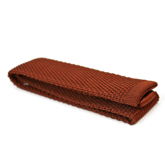 Cravate en tricot de soie marron Pochette Square