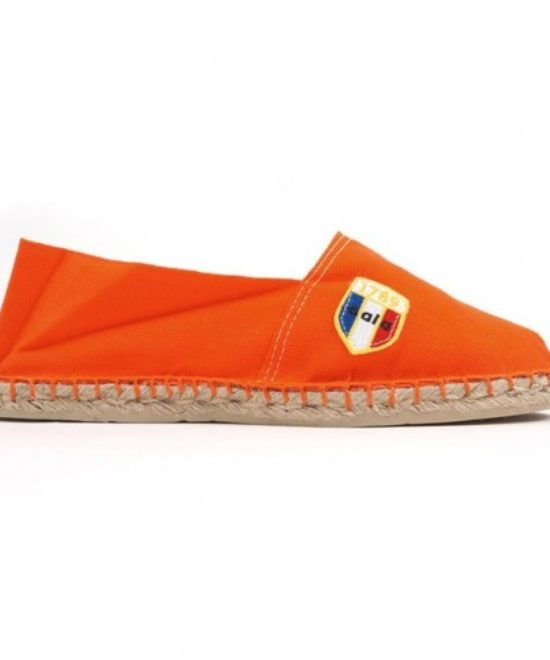 Espadrilles en toile orange made in France