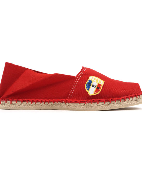 Espadrilles en toile rouge made in France