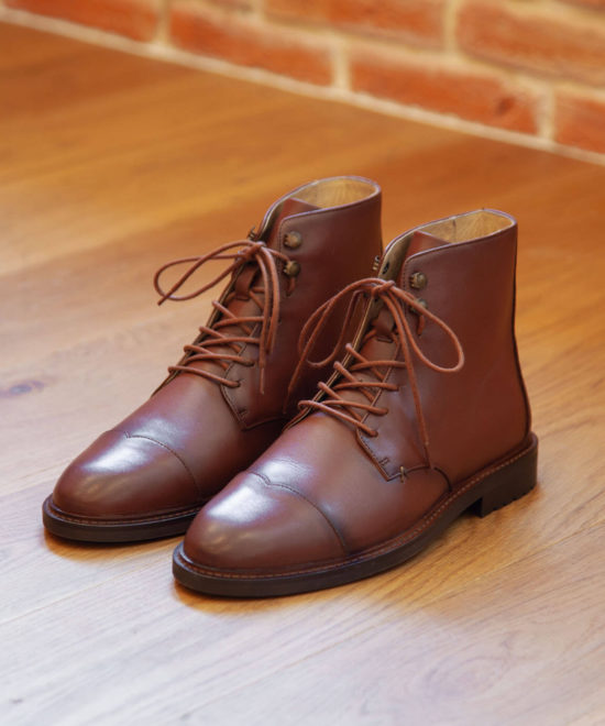 Bottines en cuir cognac patiné - Lucien