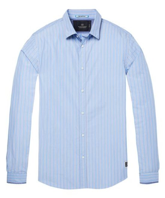 Chemise bleue rayures blanches