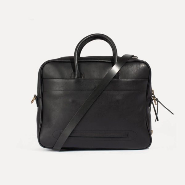 business bag in black leather made in france zeppo bleu de chauffe for a mon image
