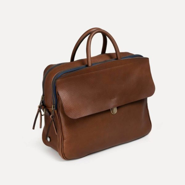 business bag in brown leather zeppo bleu de chauffe made in france for a mon image paris