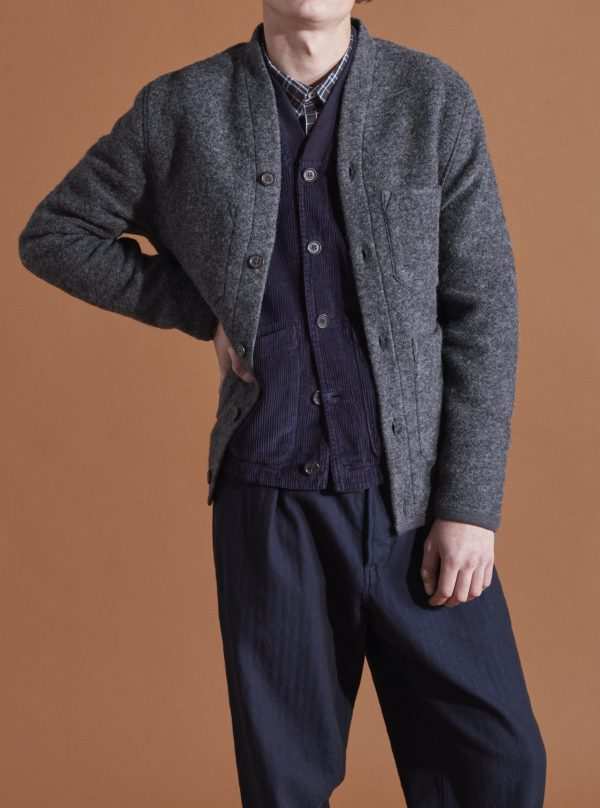 sweater charcoal button FW19 universal works