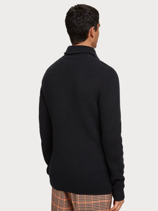 sweater in wool black zip winter 19 scotch&soda
