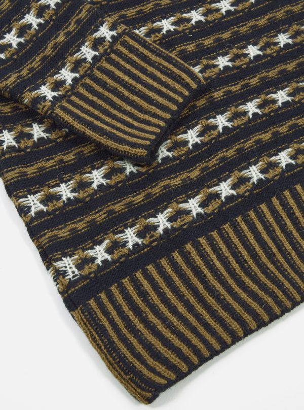 wool navy camel stripe and stars pull universal works winter 19