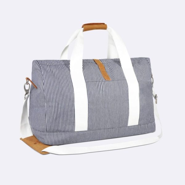 travel bag weekender in blue and white denim cotton stripes spring summer 2020 by faguo for a mon image paris 75009