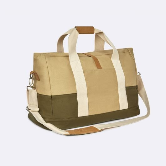 travel bag weekender in cotton and polyester beige and kaki green spring summer 2020 by faguo for amonimageparis.com